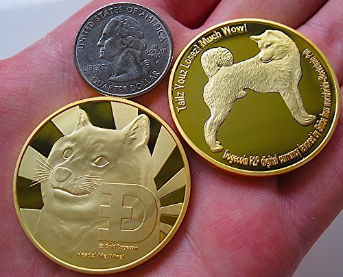 Dogecoins and a Quarter.   Licensed under the Creative Commons Attribution-Share Alike 4.0 International license. CC-BY-SA